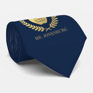 Custom Name #1 Teacher Navy Faux Gold Neck Tie
