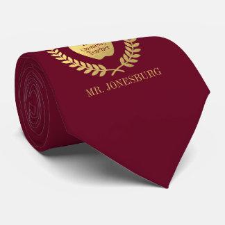 Custom Name #1 Teacher Rose Red Faux Gold Tie