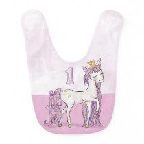 Custom Name 1st Birthday Pink Horse With Crown Baby Bib