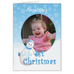 Custom Name 1st Christmas Snowman Photo Card