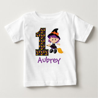 Custom name 1st Halloween witch Baby T-Shirt