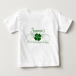 Custom Name: 1st St. Patrick's Day Shamrock Swirl Baby T-Shirt