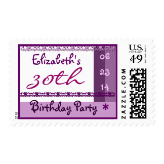 Custom Name 30th  Birthday Party in PURPLE Postage
