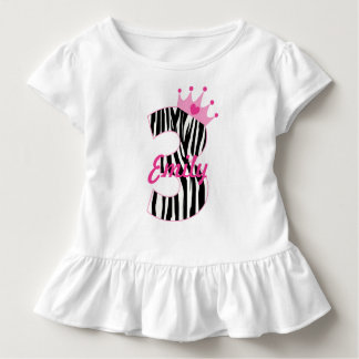 Custom name 3rd Birthday Zebra princess Toddler T-shirt