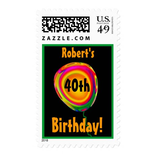 Custom Name 40th Birthday Gold Pink Green Balloon Stamps