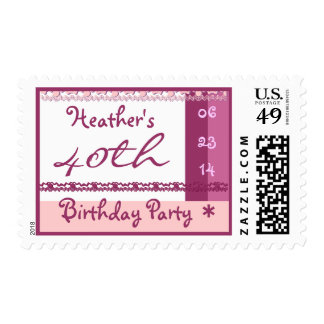 Custom Name 40th Birthday Party in PINK Postage