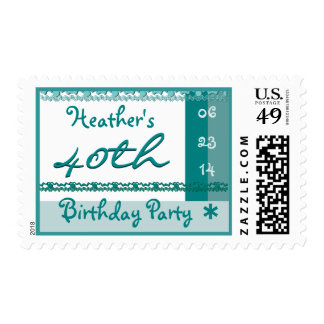 Custom Name 40th Birthday Party in TURQUOISE BLUE Postage