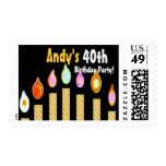 CUSTOM NAME 40th Birthday Party Stamp - GOLD