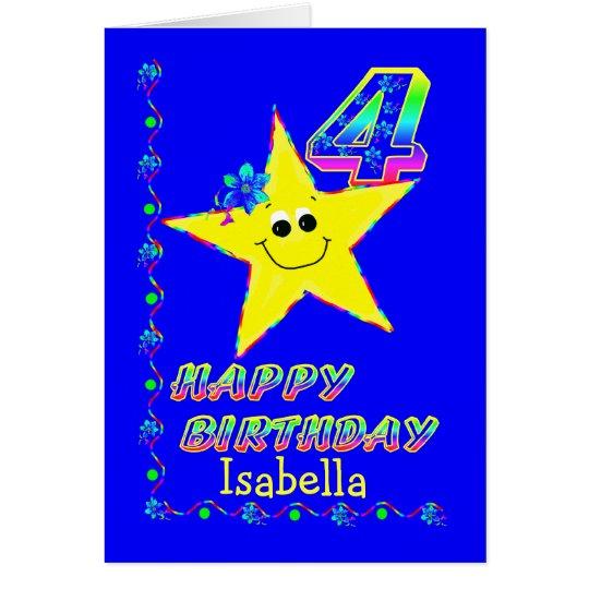 Custom Name 4th Birthday Stars Card
