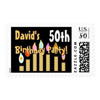 CUSTOM NAME 50th Birthday Party Stamp GOLD Candles