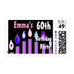 CUSTOM NAME 60th Birthday Party Stamp - PURPLE
