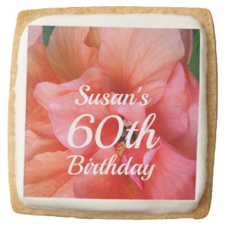 Custom Name 60th Birthday Tropical Flower Photo Square Shortbread Cookie
