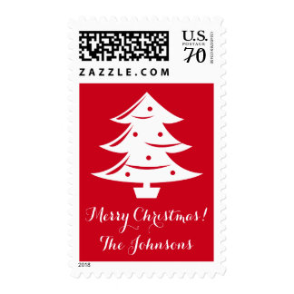 Custom name 68 cent Merry Christmas tree stamps