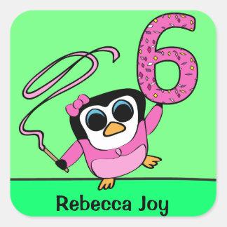 Custom Name - 6th Birthday - Gymnast Penguin Sticker
