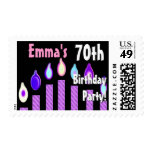 CUSTOM NAME 70th Birthday Party Stamp - PURPLE