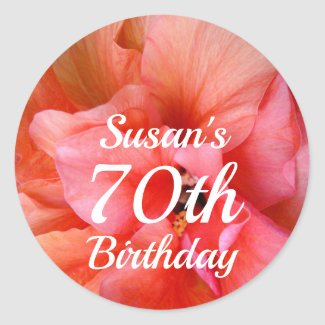 Custom Name 70th Birthday Pink Orange Flower Photo Classic Round Sticker