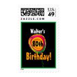 Custom Name 80th Birthday Colorful Balloon V01 Postage Stamp