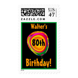 Custom Name 80th Birthday Gold Pink Green Balloon Stamp