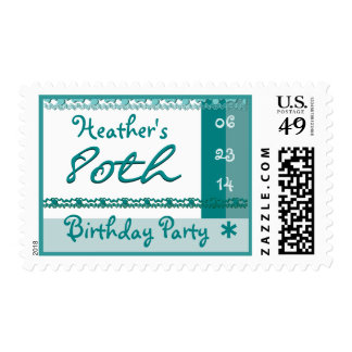 Custom Name 80th Birthday Party in TURQUOISE BLUE Postage