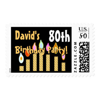 CUSTOM NAME 80th Birthday Party Stamp GOLD Candles