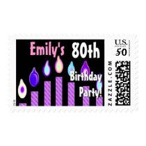 CUSTOM NAME 80th Birthday Party Stamp - PURPLE