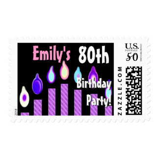 CUSTOM NAME 80th Birthday Party Stamp - PURPLE