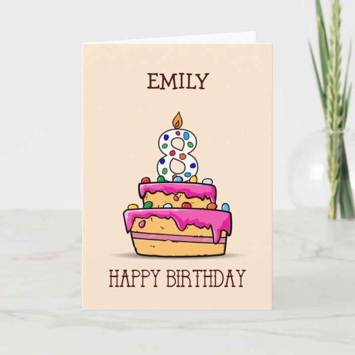 Swell Custom Name 8Th Birthday 8 On Sweet Pink Cake Card Zazzle Com Personalised Birthday Cards Veneteletsinfo