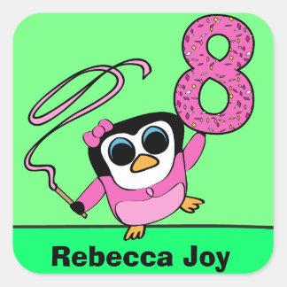 Custom Name - 8th Birthday Gymnast Penguin Square Sticker