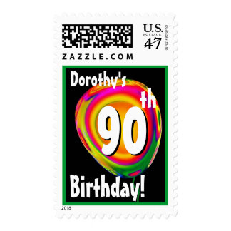 Custom Name 90th Birthday Colorful Balloon V01 Postage
