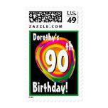 Custom Name 90th Birthday Colorful Balloon V01 Postage Stamp