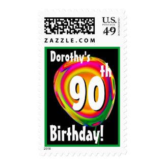 Custom Name 90th Birthday Colorful Balloon V01 Stamps