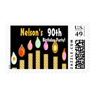 CUSTOM NAME 90th Birthday Party Stamp - GOLD