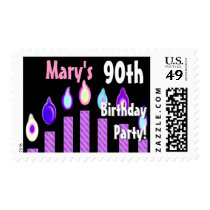CUSTOM NAME 90th Birthday Party Stamp - PURPLE
