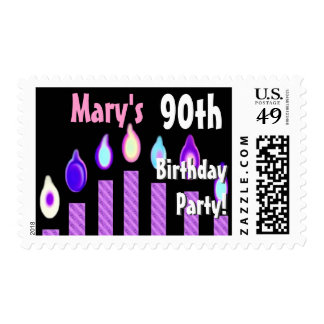 CUSTOM NAME 90th Birthday Party Stamp - PURPLE