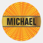 [ Thumbnail: Custom Name + Abstract Geometric Sun-Like Pattern Round Sticker ]