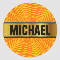 Custom Name   Abstract Geometric Sun-Like Pattern Classic Round Sticker