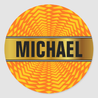 Custom Name + Abstract Geometric Sun-Like Pattern Classic Round Sticker