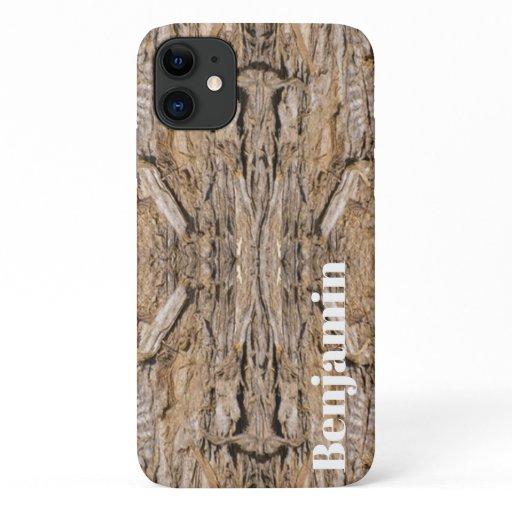 Custom Name Abstract Juniper Bark Texture Photo iPhone 11 Case
