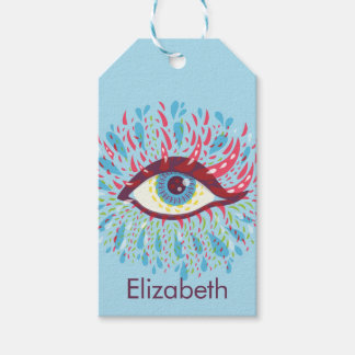 Custom Name Abstract Weird Blue Psychedelic Eye Gift Tags