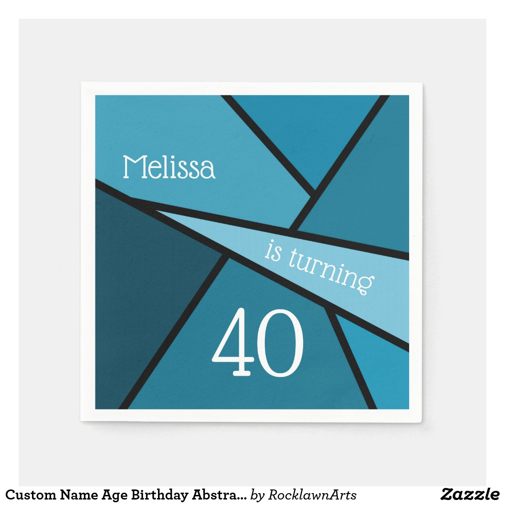Custom Name Age Birthday Abstract Teal Geometric Napkin