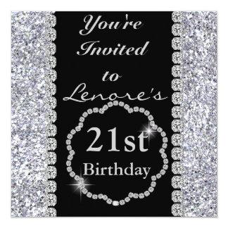 CUSTOM NAME AGE Birthday PartyInvitation CRYSTALS 5.25x5.25 Square Paper Invitation Card