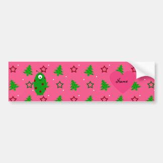 Custom name alien pink christmas trees stars car bumper sticker