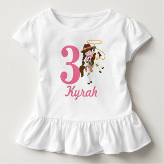 Custom name and age Cowgirl Birthday Toddler T-shirt