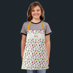 "Custom Name and Cupcake Print Apron for Kids<br><div class=""desc"">Cute cupcake apron for kids. Decorated with a pretty and colorful pattern made of cupcakes. Personalized with a custom name that you can customize with your own name or short text. Great gift for a kid who loves to bake or eat cupcakes and other sweets and desserts.</div>"