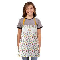 Custom Name and Cupcake Print Apron for Kids