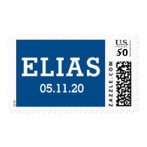 Custom name and date blue and white postage
