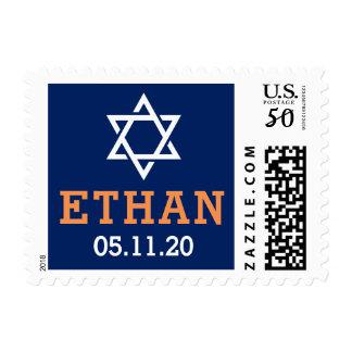 Custom name and date orange blue bar mitzvah postage