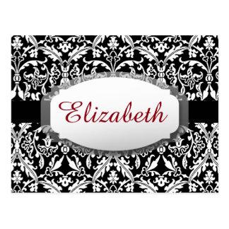 Custom Name and Elegant Black and White Damask A05 Postcard