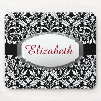 Custom Name and Elegant Black and White Damask A09 Mouse Pad