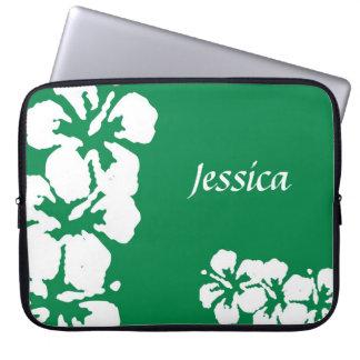 Custom Name and Hibiscuses Laptop Sleeve